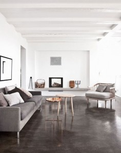 Sleek dark gray concrete floors.