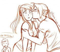 Smooch! by m7angela omg i love alphonse in the background