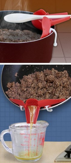 Snap on strainer spout - fits on any pan to drain off liquid, and doubles as an over the pot spoon holder #brilliant #kitchen #gadget