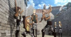 "SO MUCH IS HAPPENING IN THIS SCREENSHOT AND I CAN'T STOP LAUGHING JEAN'S ABOUT TO BEAT SASHA FOR BEING A LIL SHIT SASHA'S ABOUT TO DEFEND HERSELF CONNIE'S ABOUT TO DEFEND SASHA REINER'S ALL LIKE ""All of you are lil shits."" ANNIE'S ALL LIKE ""So, Armin-"" ARMIN'S ALL LIKE ""WHOAH HANG ON THERE FOR A SEC ANNIE WHAT'S HAPPENING OVER THERE?!"""