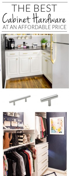 """Source list for cheap cabinet hardware from single screw T-Bar pulls all the way up to jumbo 20"""" pulls. This list is so handy!"""