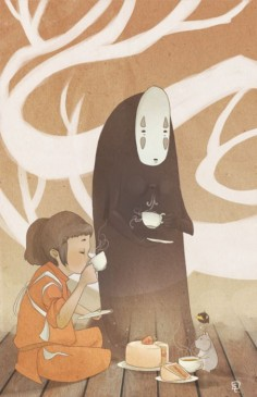 Spirited Away. I love this picture of the gang having tea and cake :)