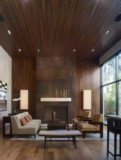 Startegic application of wood on multiple surfaces to create a focal point