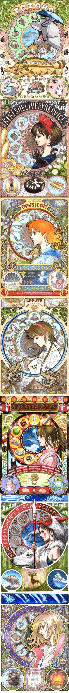 STUDIO GHIBLI art nouveaux.  Absolutely wonderful.  I especially love the extras in the spirited away and the hair in the laputa piece.