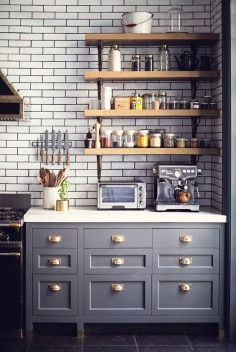subway tile + open wood shelves + kitchen dresser