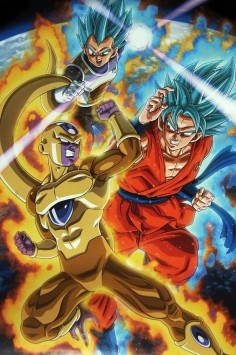 Super Saiyan God Super Saiyan Vegeta & Goku SSGSS vs Golden Frieza ゴールデンフリーザ. From Dragon Ball super posterPublished by Toei Animation / Fuji TV & Studio Bird
