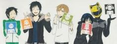 Tags: Durarara!!, Orihara Izaya, Kida Masaomi, Sonohara Anri, Ryuugamine Mikado, Sturluson Celty. I love this picture