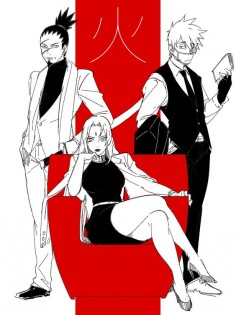 Tags: Fanart, NARUTO, Hatake Kakashi in a suit, Pixiv, Tsunade, Nara Shikaku, PNG Conversion, Fanart From Pixiv, Noeunjung93