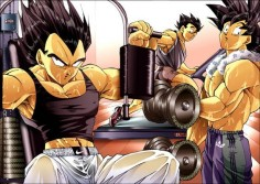 Talkin' about yet ANOTHER FANSERVICE XD --Vageta, Goku, adult Gohan -DBZ