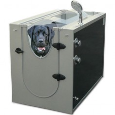 The Canine Shower Stall - has 16 water-jet nozzles and a showerhead that wash and rinse your canine in an enclosed space. The jet nozzles produce vigorous streams of water that penetrate even the thickest coats to clean pet hair and remove dead skin cells. A handheld, adjustable-flow showerhead has a 38 hose that allows you to easily wash and rinse the paws, underbody, and other hard-to-reach