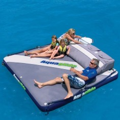 The Floating Private Island - Hammacher Schlemmer it's about time someone came up with a blow up bed for the water.
