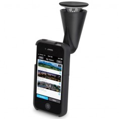 The iPhone 360 Degree Panoramic Video Lens - Using the same technology found in  Army surveillance cameras, this iPhone lens captures seamless 360º panoramic video.