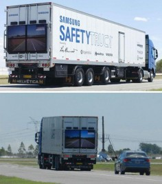 The Samsung Safety Truck is fitted with cameras that let drivers see blindspots around the vehicle
