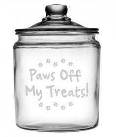 This adorable pet treat jar is perfect for your furry friends snacks.