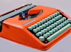 "This amazing Hermes ""Rocket"" typewriter, revamped and repainted with Procreate app on iPad, by ely kahn"