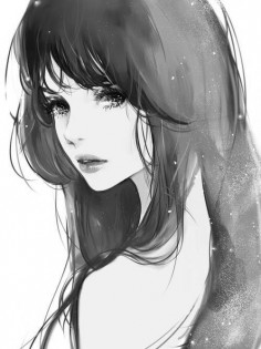 this anime girl is quite a beuty. her black hair is really pretty.