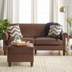 This brown faux-leather sofa that has scroll arms and a library vibe. | 22 Cheap Sofas That Actually Look Expensive