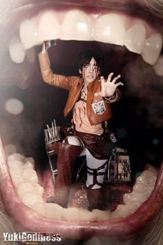 This has to be one of the best cosplay photos I've ever seen. Attack on Titan, Eren Jeager in the mouth of a Titanexcept for eren was missing a leg...