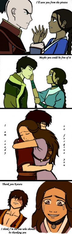 This is Katara and Zuko's real relationship. They maaaaayyybe could have been romantic, but that all changed when he betrayed her. now it is just a friendship, albeit a deep understanding friendship. Katara loves Aang, and Zuko loves Mai, but Zuko and Katara will always have a certain understanding.