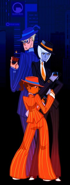 This is what happens when you watch Baccano- Gangster Portal. Wheatly's good at destroying things in portal 2 so he's he exsoplive guy. Glados has brains so she the bootlegger. And Chell shoots backup.