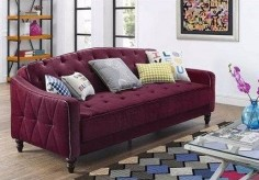 This purple velour fold-down sleeper that has a bold vintage appeal. | 22 Cheap Sofas That Actually Look Expensive