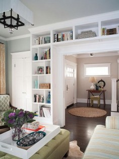 This would be good between kitchen and living room. Here is one more example of built in bookcases. It not only adds a ton of extra character and storage to the house, but they really can make a small house feel so much bigger! See more instructions