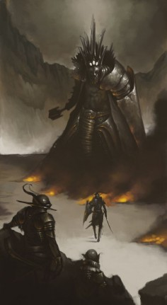 """Thus he came alone to Angband's gates, and he sounded his horn, and smote once more upon the brazen doors, and challenged Morgoth to come forth to single combat. And Morgoth came."" by ~Mentosik8 on deviantART"