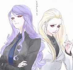 Tokyo Ghoul fem Shuu and Naki (M: Omg, fem Naki in this fan art is my type so much)