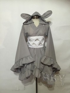 Totoro Kimono Dress Includes: kimono, obi, tail and removable hood. - Wide Collar - Kimono Sleeves with Ruffles - Descending Hem with Ruffles -