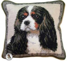 "Tri Color Cavalier King Charles Spaniel Dog Portrait - 10"" Needlepoint Dog Pillow"