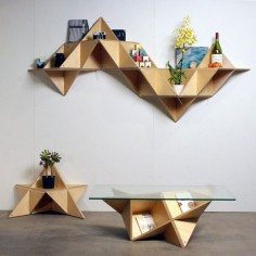 (Triangular shelf) is a modular system that can be built into multiple shapes with various functions. / by j1studio