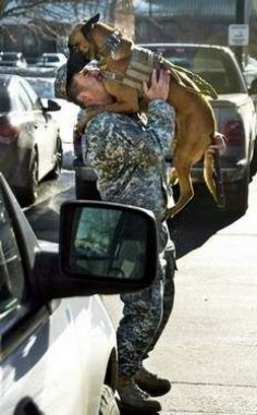 Ttaryn, a 4-year-old Belgian malinois, leaps into the arms of her trainer, Sgt. Rodolfo Martinez.
