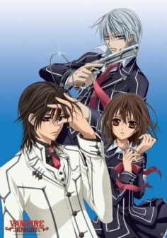 Vampire Knight.  Incredibly dramatic.  This love triangle is absolute torture. I'm still torn.  The anime was great!!