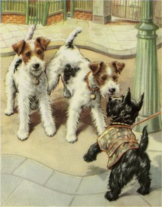 Vintage Dog Print Terrier & Scottie Puppies by Winifred Martin C. 1953 Vintage Decor Matted 11x14""