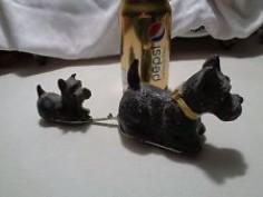 Vintage scottie-toy, key-wound, mama pulling puppy behind her