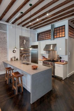 Warehouse loft renovation in Brooklyn, New York incorporating Feng Shui | by Reiko Feng Shui Interior Design #architecture #interiors #design #kitchen