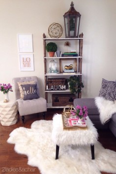 We added much needed warmth and color to this space. The beautiful gray sofa and slipper chair are fabulous neutral furniture pieces we bought at HomeGoods! They are the perfect starting point for cozying up this sitting area. There's lots of texture in our pillows and throw, with textiles of linen, faux fur, and velvet. Then color. We kept it neutral with the added warmth of gold and the colorful pop of pink! Now this area is warm and inviting! Sponsored by HomeGood