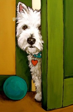 "West Highland Terrier Westie Matted Print Painting ""Sneaking A Peek"" Dog Randall 