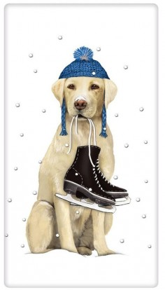 Winter Ice Skating Yellow Labrador Retriever Dog 100% Cotton Flour Sack Dish Towel Tea Towel