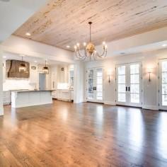 Wood flooring + ceiling.
