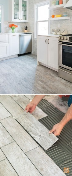 Wood-look tile combines the natural warmth of wood with the durability and easy care of porcelain. That makes it a great choice for kitchen flooring. And we can install it for you! Take a look at our entire Marazzi tile selection for the kitchen, or just about any room in your home. (Tile shown here is Montagna Dapple Gray)