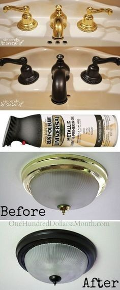 #14. Use Rust-Oleum to paint outdated brass faucets, hardware and fixtures! -- 27 Easy Remodeling Projects That Will Completely Transform Your Home