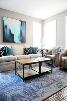 A great piece of art, like this piece from HomeGoods can transform a room. Use it as your statement piece and choose pillows and other accessories based on the colors in the artwork. Sponsored pin.