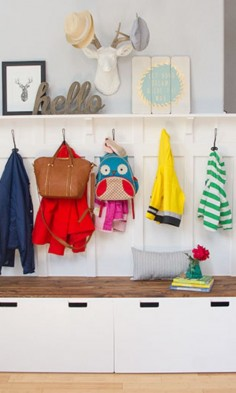 Add extra coat hooks to your entryway's bench in this IKEA hack.
