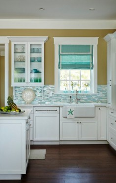 Beautiful Beach House Kitchen with Shimmery Turquoise 1×4 Tile Backsplash !