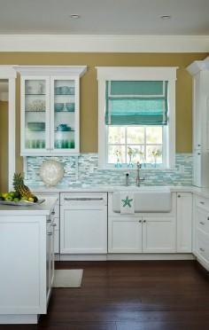 Beautiful Beach House Kitchen with Shimmery Turquoise 1×4 Tile Backsplash !