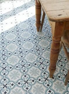 blue and white floor tiles