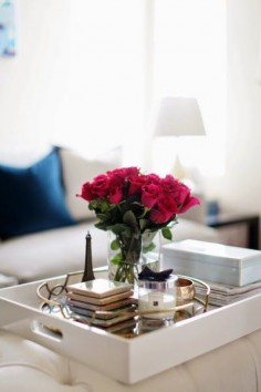 Elegant tray styling. Ottoman coffee table vignette | Arianna Belle home.