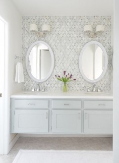 Fantastic builder basic master vanity makeover with diamond backsplash tile