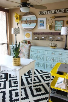 Home Office Makeover: Decorating inspiration with yellow and blue, gold accents, and black and white aztec print rug